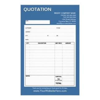 Forme - citation ou facture d'affaires prospectus 14 cm x 21,6 cm