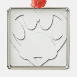 Forme de patte et de coeur de chien de coupe de ornement carré argenté