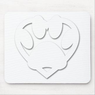 Forme de patte et de coeur de chien de coupe de tapis de souris