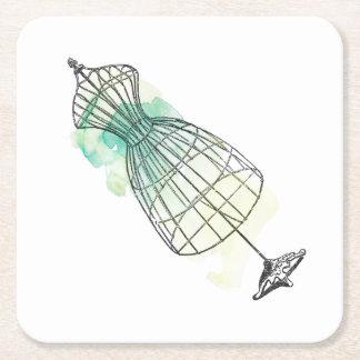 Forme de robe d'aquarelle dessous-de-verre carré en papier