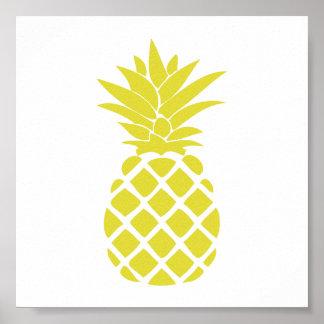 Forme décorative jaune d'ananas poster