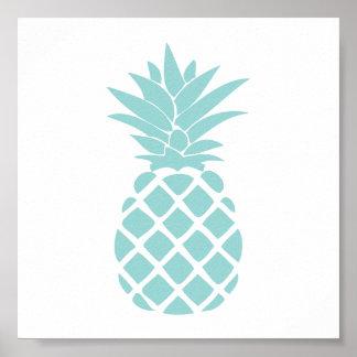 Forme décorative verte en bon état d'ananas affiches