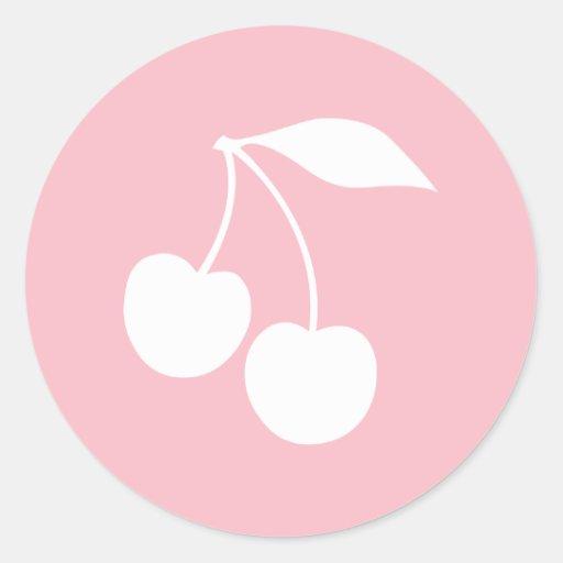 Forme rose et blanche de cerises adhésif rond