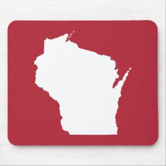 Forme rouge et blanche du Wisconsin Tapis De Souris