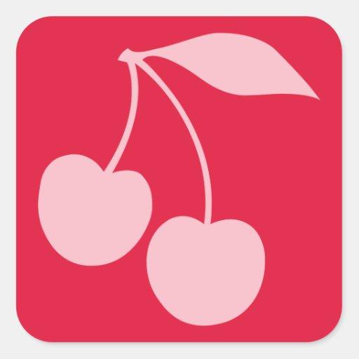Forme rouge et rose de cerises stickers carrés