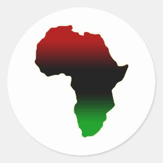 Forme rouge, noire et verte de l'Afrique Autocollants Ronds