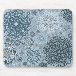 Formes bleues de flocon de neige tapis de souris