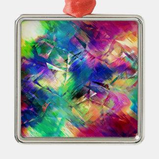 Formes colorées abstraites et textures ornement carré argenté