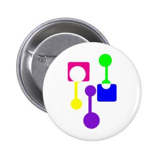 Formes géométriques abstraites badge rond 5 cm