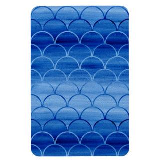 Formes géométriques de fan d'aquarelle de bleu magnet flexible