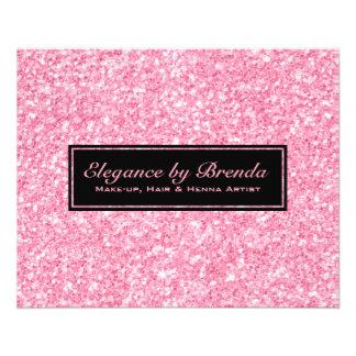 Formes géométriques de noir rose de scintillement prospectus 11,4 cm x 14,2 cm