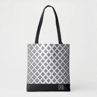 Formes géométriques noires et rayure sac