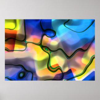 Formes liquides - art abstrait coloré poster
