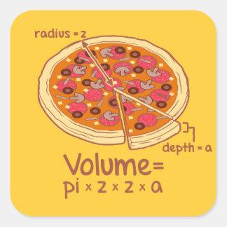 Formule mathématique = Pi*z*z*a de volume de pizza Sticker Carré