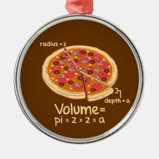 Formule mathématique = Pi*z*z*a de volume de pizza Ornement Rond Argenté