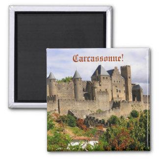 Forteresse de Carcassonne en France Magnet Carré