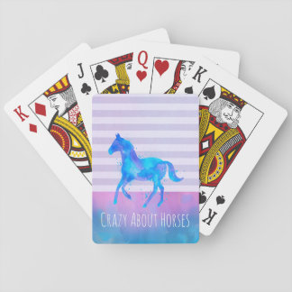 Fou au sujet des chevaux roses et de l'aquarelle jeu de cartes
