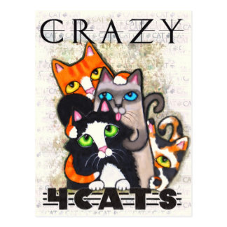 Fou pour la carte postale de chats