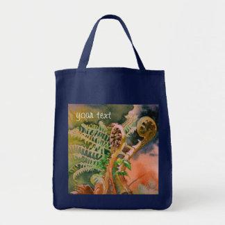 Fougère déferlant des beaux-arts d'aquarelle sacs
