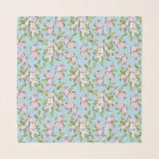Foulard Apple rose et blanc fleurissent sur le motif