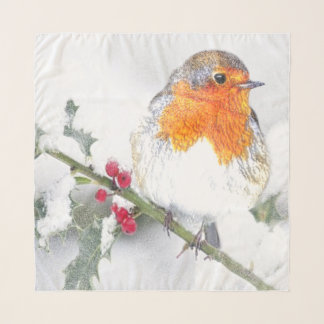 Foulard Art de Noël de baies de houx d'hiver de Robin de
