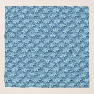 Foulard Bleu japonais vintage de vagues, de marine et de