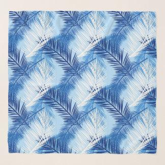 Foulard Copie, cobalt, blanc et bleu de ciel en feuille de