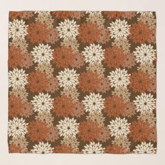 Foulard Copie florale moderne de kimono, Brown foncé et