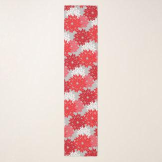 Foulard Copie florale moderne de kimono, rouge et gris de