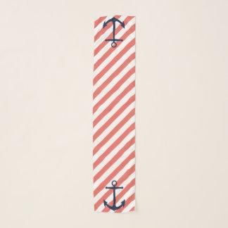 Foulard Corail nautique et rayures blanches avec des