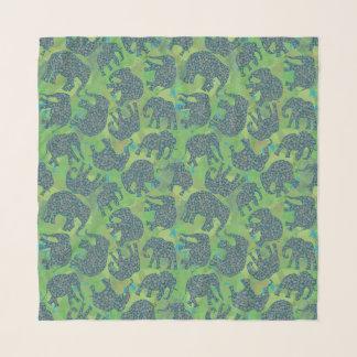 Foulard Éléphants de Paisley d'amusement, motif vert de