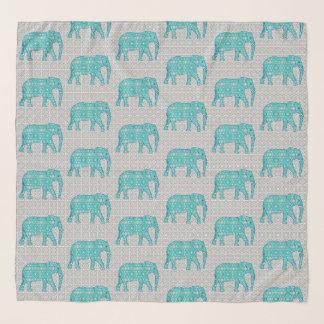 Foulard Éléphants, turquoise, gris et blanc de fleur de
