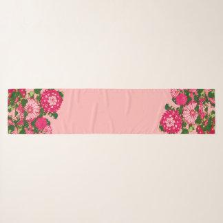 Foulard Frontière de fleur, fuchsia et rose japonais de
