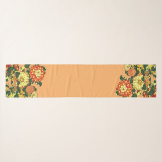 Foulard Frontière de fleur, mandarine et or japonais