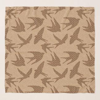 Foulard Hirondelles de Japonais en vol, Brown et beige