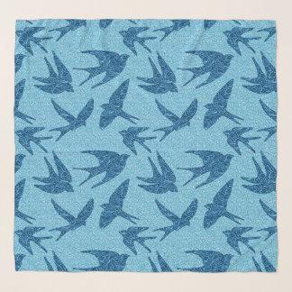 Foulard Hirondelles de Japonais en vol, cobalt et