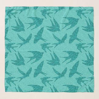 Foulard Hirondelles de Japonais en vol, turquoise et Aqua