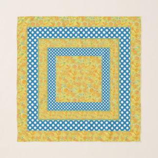 Foulard Jonquilles d'or et blanc sur le pois bleu