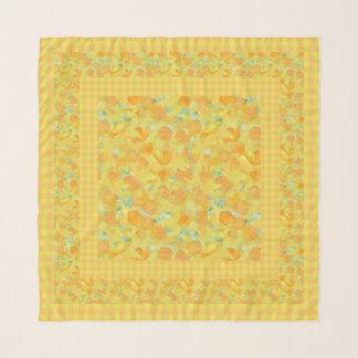 Foulard Jonquilles d'or, oranges sur le guingan jaune de