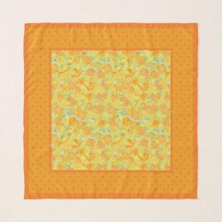 Foulard Jonquilles et orange d'or sur le pois jaune