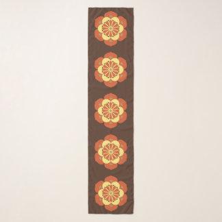 Foulard Mandala, Brown, rouille et jaune de fleur de Lotus