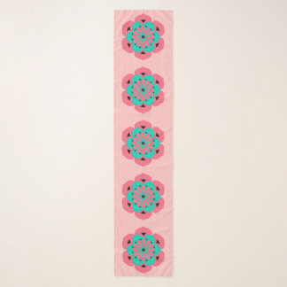Foulard Mandala de fleur de Lotus, rose de corail et