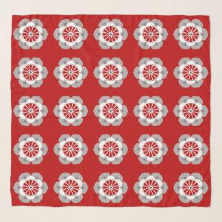 Foulard Mandala de fleur de Lotus, rouge foncé, gris et