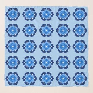 Foulard Mandala, indigo et bleu-clair de fleur de Lotus