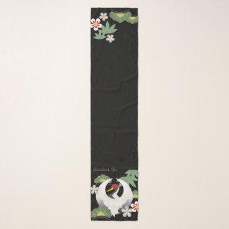 Foulard Noir blanc d'oiseau de grue de symboles japonais