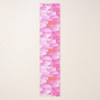 Foulard Nuages japonais, aube, rose d'orchidée et corail