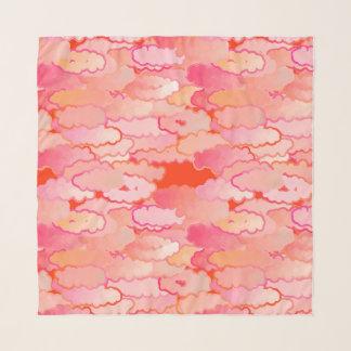Foulard Nuages japonais, coucher du soleil, corail,