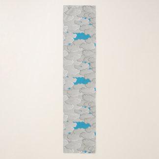 Foulard Nuages japonais, jour d'été, blanc et bleu de ciel