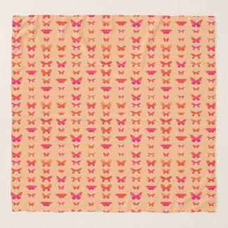 Foulard Papillons, doucement orange, rose de corail, or