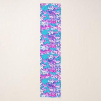 Foulard Papillons, violette et turquoise